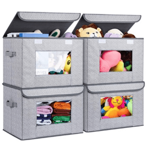 Foldable Storage Bin [4-Pack] Fabric Storage Boxes with Lids Large Closet Organizers