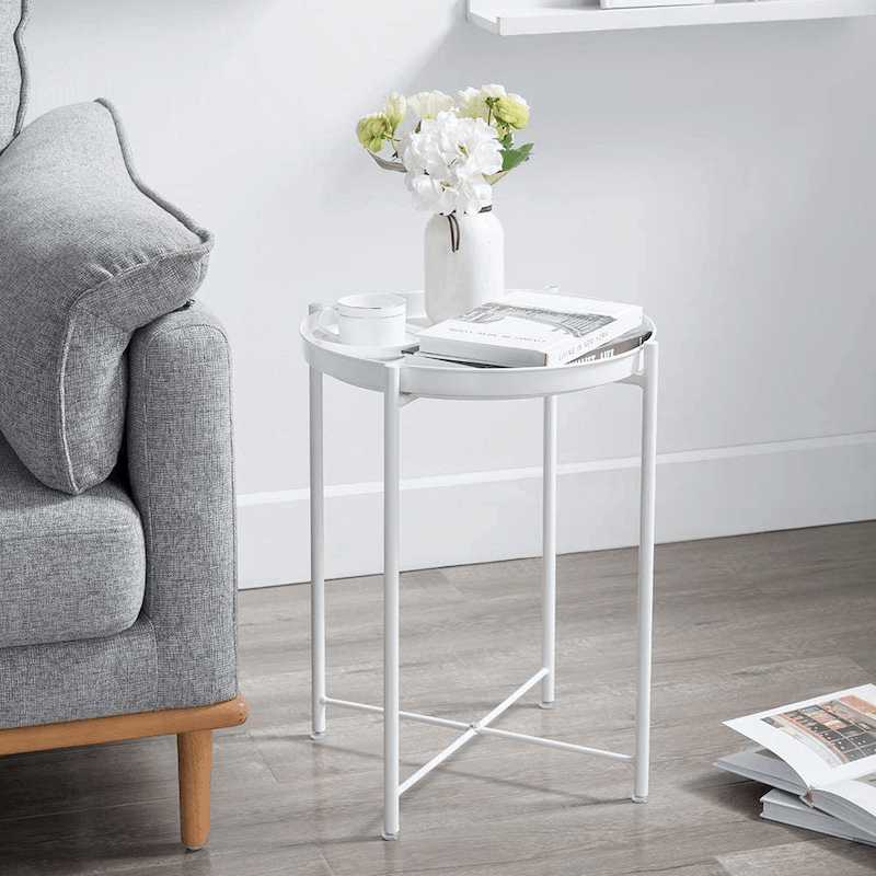 Folding Metal Side Table Removable Tray